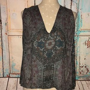 FREE PEOPLE~Pleat Shoulder Printed Hi Low Tunic~S
